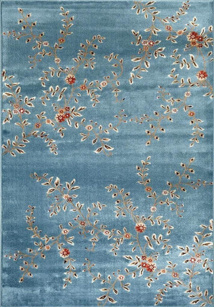 Blue Branches Floral Transitional Area Rugs