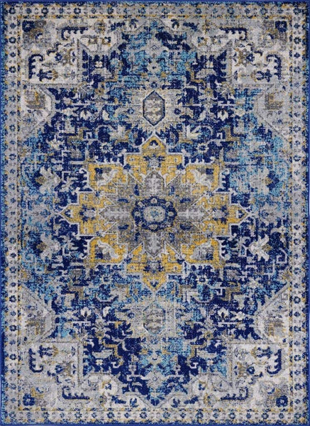 2211 Blue Yellow Medallion Distressed Oriental Area Rugs