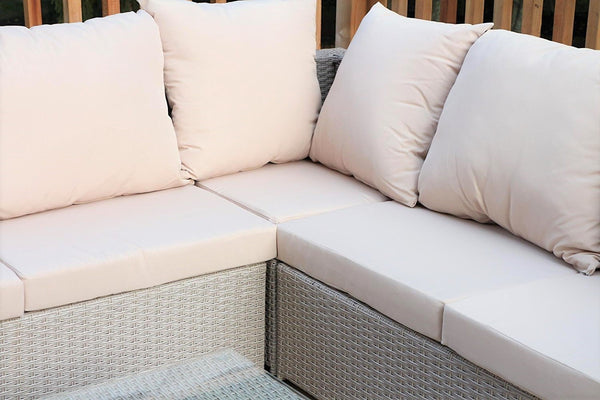New Century® Modern Taupe & Beige Wicker Outdoor Sectional Sofa With Table