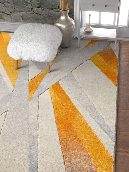 7022 Yellow Ivory Hand Carved Contemporary Area Rugs