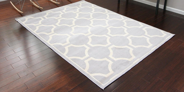 Silver Moroccan Trellis Contemporary Area Rugs