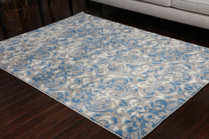5550 Gray Blue Damask Contemporary Area Rugs