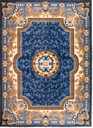 Persian Rugs Blue Medallion Isfahan Oriental Rugs | Bargain Area Rugs