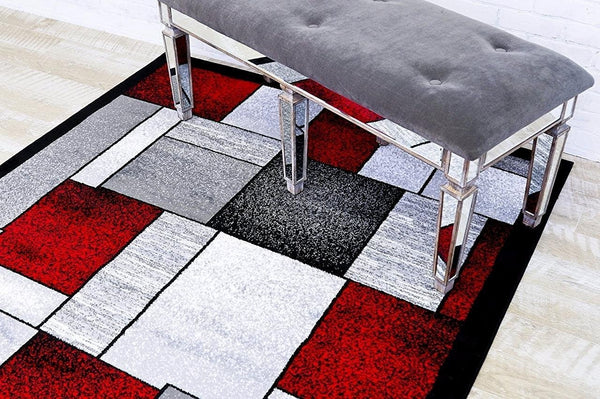 2094 Red | Gray Red Contemporary Area Rugs