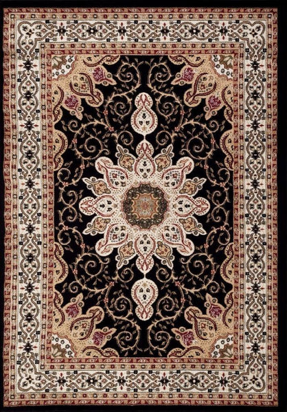 Persian-Rugs Black Isfahan Medallion Oriental Area Rugs