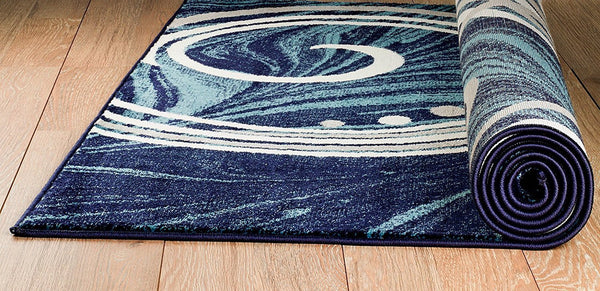 2039 Blue Swirls Contemporary Area Rugs