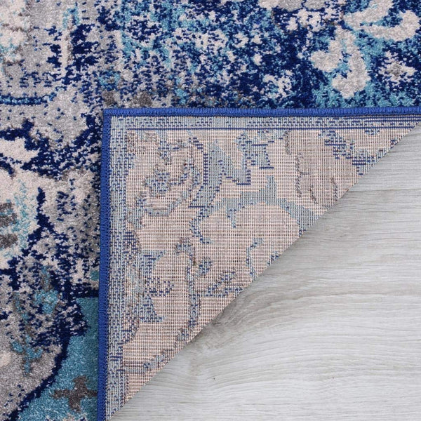 2212 Blue Medallion Distressed Oriental Area Rugs