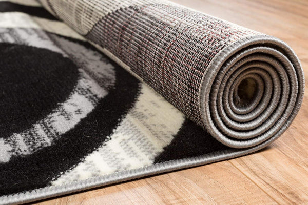 5083 Gray Swirls Contemporary Area Rugs
