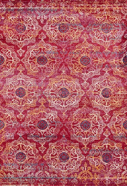 2067 Pink Colorful Medallion Oriental Area Rugs