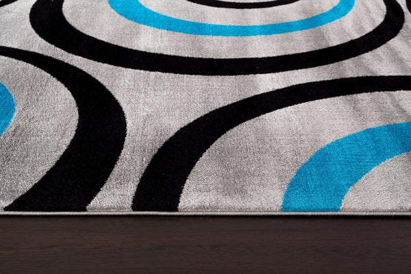 Tobis Gray Turquoise Geometric Contemporary Area Rugs
