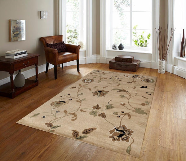 Beige Branches Floral Transitional Area Rugs