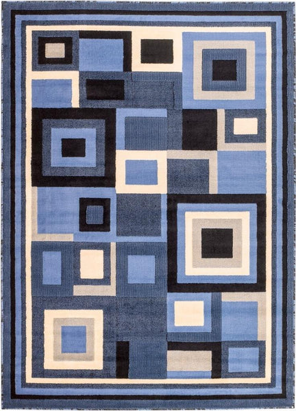 Blue Black Geometric Designs Contemporary Area Rugs