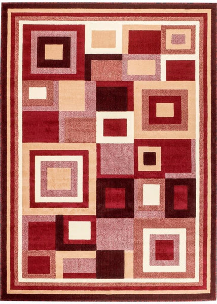 Red Ivory Squares Design Contemporary Area Rugs