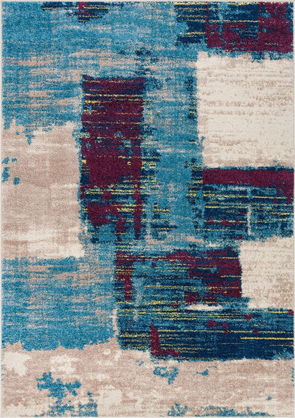 6121 Blue Modern Abstract Contemporary Area Rugs