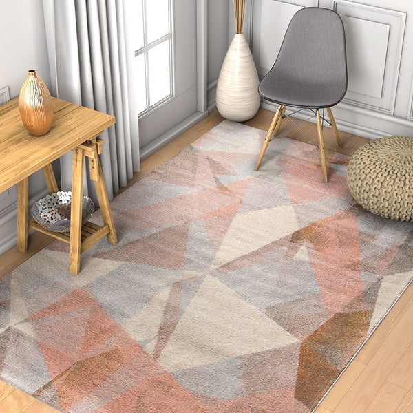 2902 Pink Abstract Design Contemporary Area Rugs