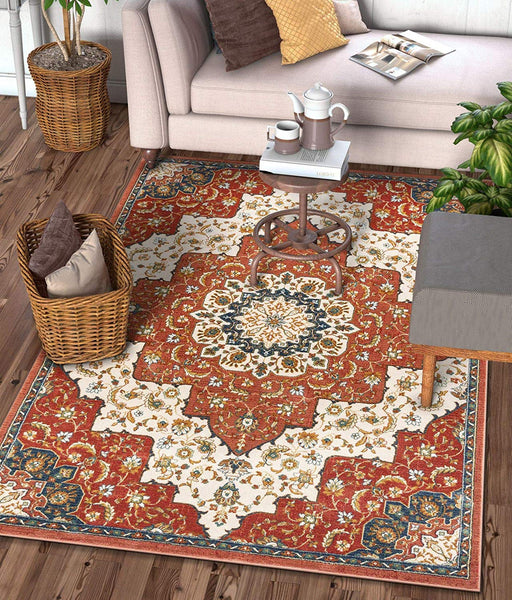 2936 Crimson Red Persian Medallion Area Rugs
