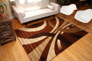 2030 Brown Abstract Contemporary Area Rugs
