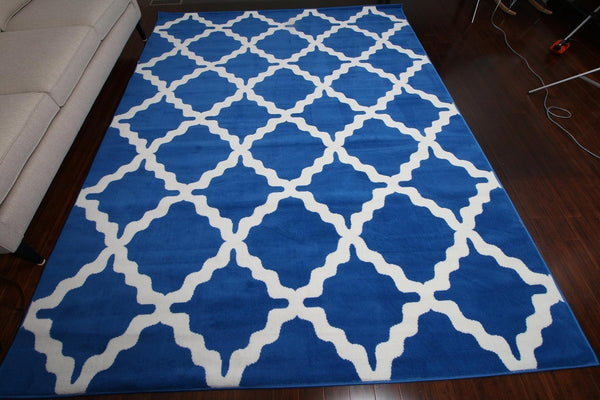 Blue Morrocan Trellis Contemporary Area Rugs