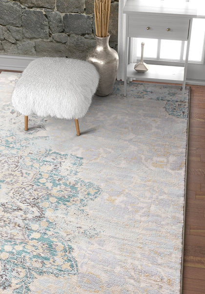 2924 Light Blue Distressed Oriental Area Rugs