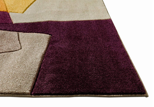 6110 Purple Colorful Hand Carved Contemporary Area Rugs
