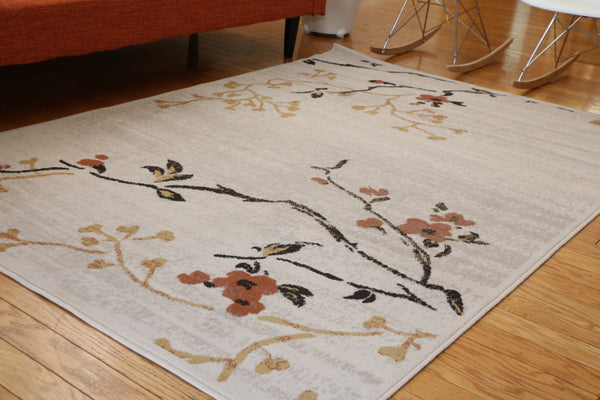 Ivory Floral Branches Transitional Area Rugs