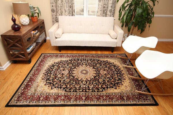 Persian-Rugs Black Red Isfahan Oriental Area Rugs | Bargain Area Rugs