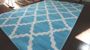 Light Blue Morrocan Trellis Contemporary Area Rugs