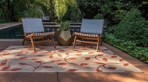 7165 Beige Red Outdoor-Indoor Branches Area Rugs