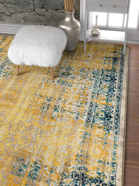 2945 Yellow Fuscia Medallion Traditional Area Rugs