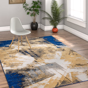 2943 Blue Galaxy Abstract Design Contemporary Area Rugs