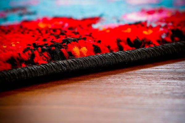 Red Black Colorful Contemporary Abstract Area Rugs