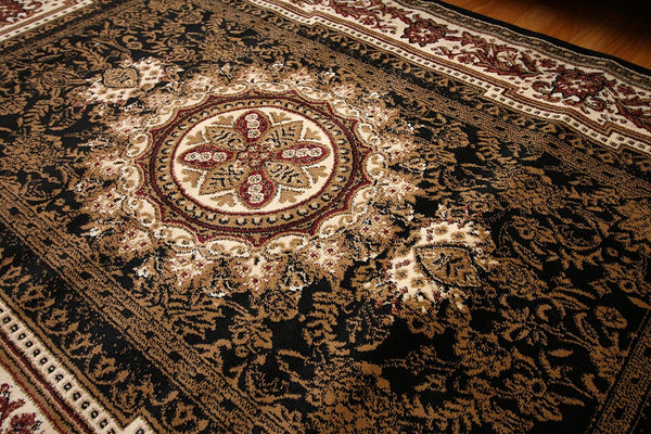 2120 Black Medallion Traditional Area Rugs