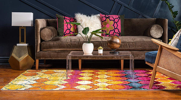 9712 Gold Moroccan Trellis Area Rugs