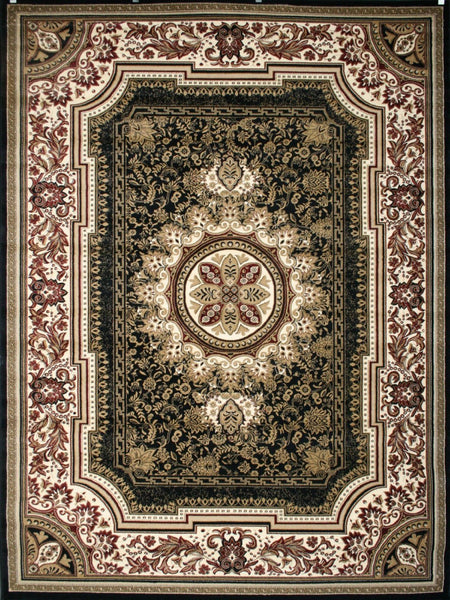 Black European French Medallion Traditional Area Rugs