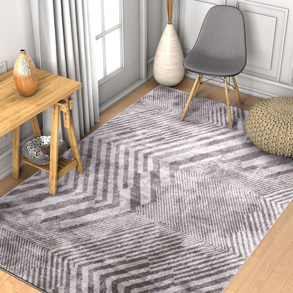 2941 Gray Chevron Modern Geometric Contemporary Area Rugs