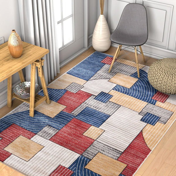 2942 Blue Multi-Color Geometric Contemporary Area Rugs