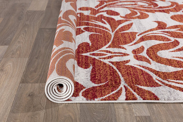 2911 Rust Color Damask Design Area Rugs