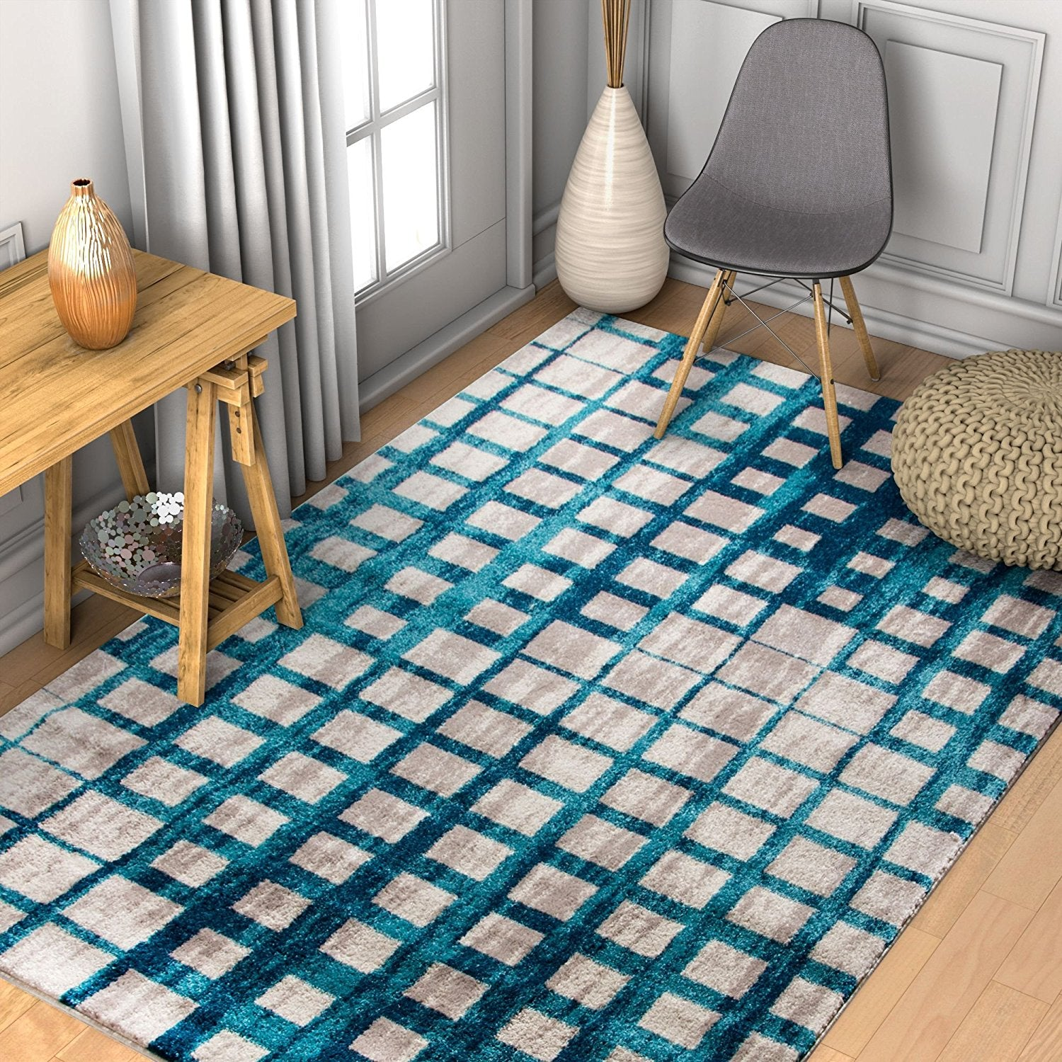 Teal Blue Square Tiles Design Contemporary Area Rugs Thick & Soft ...
