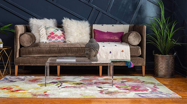 9705 Ivory Floral Contemporary Area Rugs