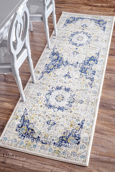 20020 Ivory Navy Blue Distressed Persian Oriental Area Rugs