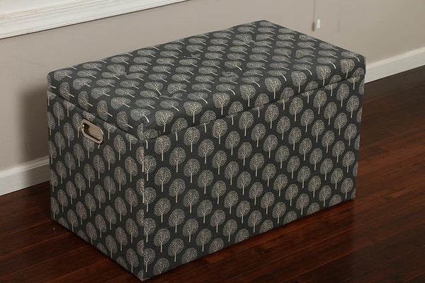 New Century® 5 Pieces Cloth Tree Of Life Design Storage Ottoman, Charcoal
