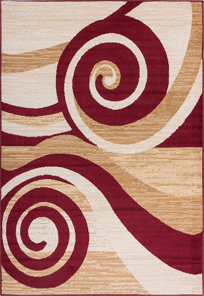5081 Red Swirls Contemporary Area Rugs