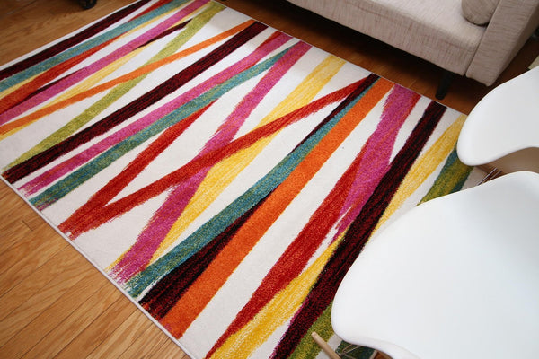 Radiance White Multi-Colors Contemporary Area Rugs