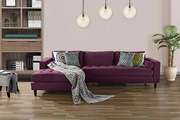 New Century® Purple Tufted Velvet Sectional L Shape Sofa With Wide Chaise Lounge