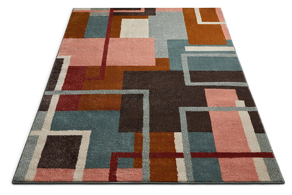2952 Pink Multi Geometric Contemporary Area Rugs