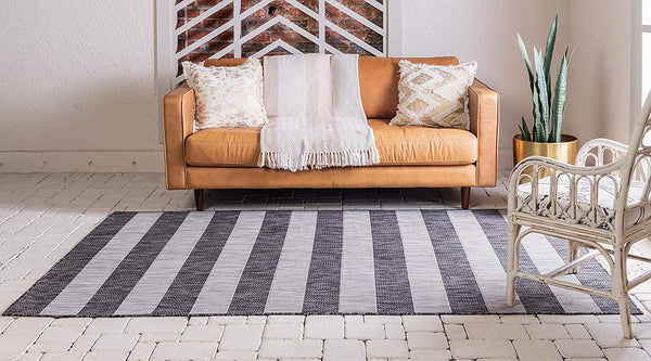 7193 Charcoal Gray Striped Design Indoor-Outdoor Contemporary Area Rugs