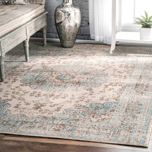 9349 Beige Blue Distressed Oriental Area Rugs
