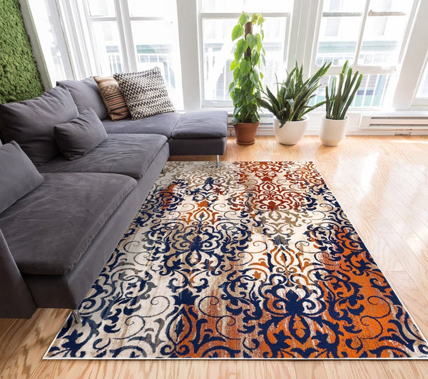2914 Orange European Lattice Modern Area Rugs