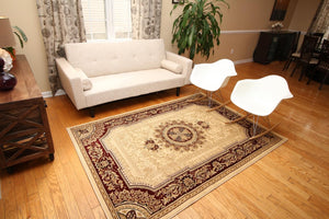 Ivory Red French European Medallion Traditional Rugs | Bargain Area Rugs