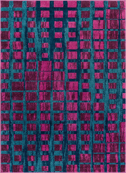 2951 Purple Blue Square Tiles Design Contemporary Area Rugs